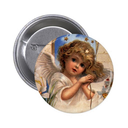 Vintage Victorian Christmas Angel with Bells Ivy Button