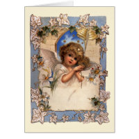 Vintage Victorian Christmas Angel with Bells Ivy Cards