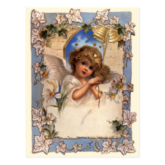 Vintage Victorian Christmas Angel with Bells Ivy Post Card