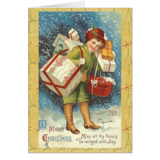 Vintage Victorian Christmas Boy Greeting Card
