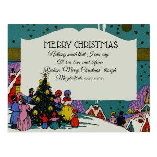 Vintage Victorian Christmas Carolers Holiday Postcard