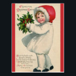 """Vintage Victorian Christmas Child with Holly Postcard<br><div class=""""desc"""">This adorable vintage holiday design features a Victorian child carrying a bunch of holly. The card reads,  """"Wishes for Christmas Cheer"""" and """"Deck the Halls"""". This is a unique gift idea perfect for Christmas!</div>"""