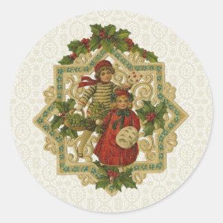 Vintage Victorian Christmas Children Sticker