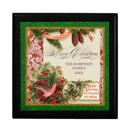 Vintage Victorian Christmas Dove Holly Pine Boughs giftbox