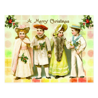 Vintage Victorian Christmas Greeting from children Postcard