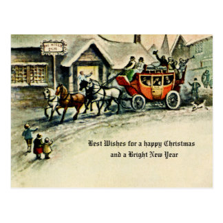 Vintage Victorian Christmas Holiday Horse & Buggy Postcard