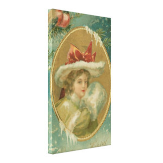 Vintage Victorian Christmas Lady Canvas Print
