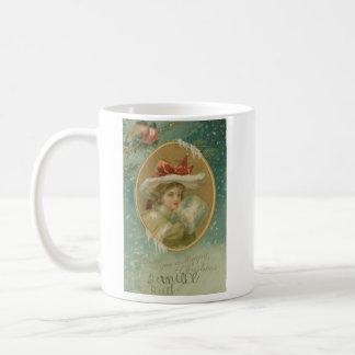 Vintage Victorian Christmas Lady Mugs