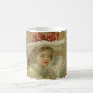 Vintage Victorian Christmas Lady Mug