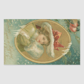 Vintage Victorian Christmas Lady Rectangular Sticker