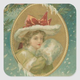 Vintage Victorian Christmas Lady Square Sticker
