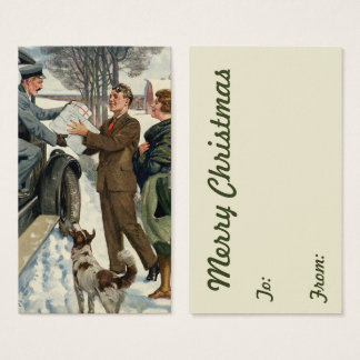 Vintage Victorian Christmas Mailman Delivery Business Card