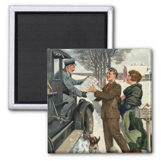 Vintage Victorian Christmas Mailman Delivery Magnet