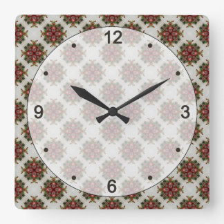 Vintage Victorian Christmas Pattern Square Wall Clock