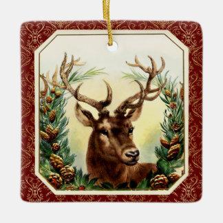 Vintage Victorian Christmas Raindear & Gold Damask Square Ornament
