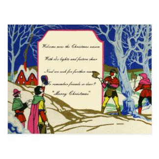 Vintage Victorian Christmas Robin Hood Firewood Postcard
