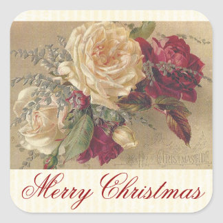 Vintage Victorian Christmas Roses Sticker