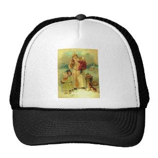 Vintage Victorian Christmas Santa Claus Kids Puppy Trucker Hat