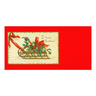 Vintage Victorian Christmas Sled n Holly Print Card