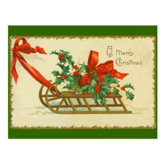 Vintage Victorian Christmas Sled n Holly Print Postcard