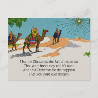 Vintage Victorian Christmas Three Wise Men Holiday Postcard