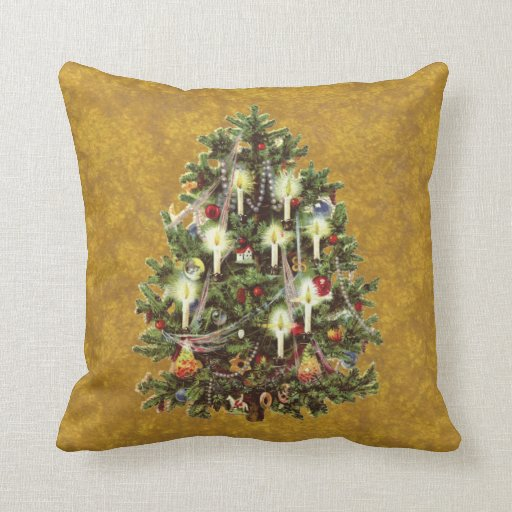 Vitnage Christmas, Victorian Tree Decorated Throw Pillow Zazzle