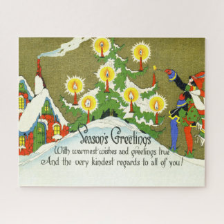 Vintage Victorian Christmas Warmest Wishes Candles Jigsaw Puzzle