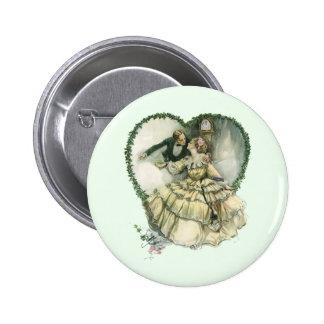 Vintage Victorian Christmas Wedding Pinback Button