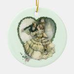 Vintage Victorian Christmas Wedding Ceramic Ornament