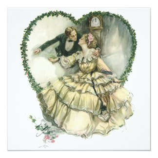 Vintage Victorian Christmas Wedding Invitation