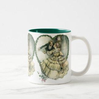 Vintage Victorian Christmas Wedding Two-Tone Coffee Mug