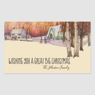 Vintage Victorian Christmas Winter Scene Greetings Rectangular Sticker
