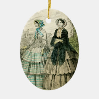 Vintage Victorian Christmas Women Edwardian Fancy Ceramic Ornament