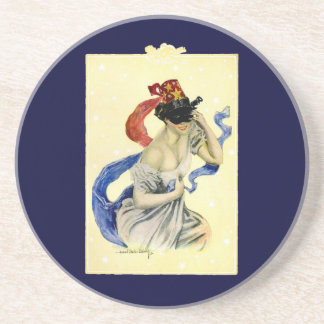 Vintage Victorian Christy Girl Masquerade Party Drink Coaster