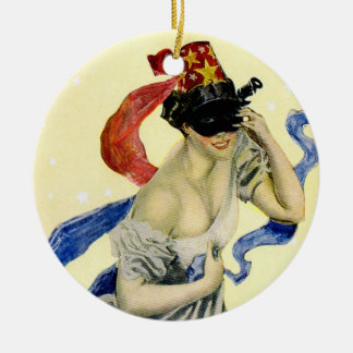 Vintage Victorian Christy Girl Masquerade Party Double-Sided Ceramic Round Christmas Ornament
