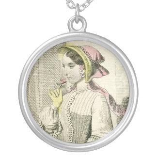 Vintage Victorian Civil Ear Era Lady Bonnet Silver Plated Necklace