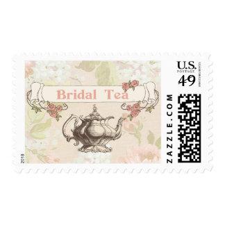 vintage victorian coral bridal shower stamps