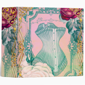 Vintage Victorian Corset and Roses Pink and Blue Binder