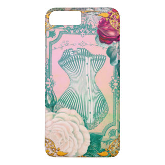 Vintage Victorian Corset and Roses Pink and Blue iPhone 7 Plus Case