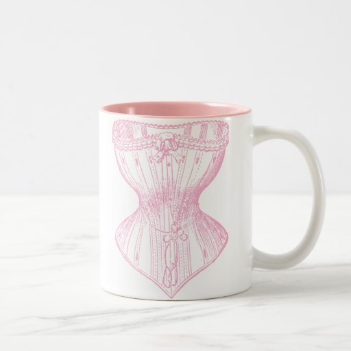Vintage Victorian Corset Pink Two-Tone Coffee Mug