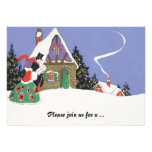 Vintage Victorian Couple Going to Christmas Party Custom Announcements