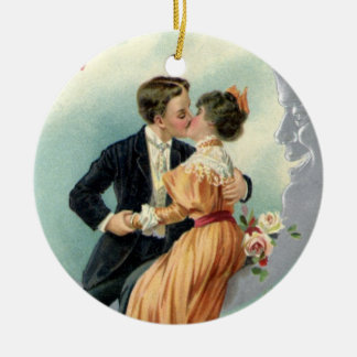 Vintage Victorian Couple Kiss on a Crescent Moon Ornaments