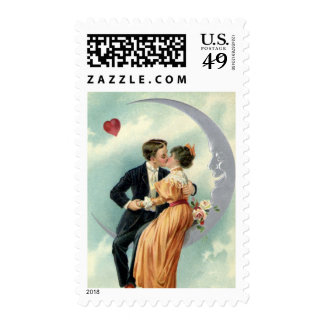 Vintage Victorian Couple Kiss on a Crescent Moon Stamps