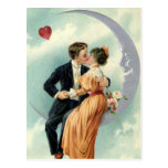 Vintage Victorian Couple Kiss on a Crescent Moon Postcard