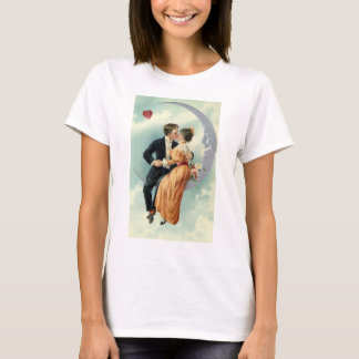 Vintage Victorian Couple Kiss on a Crescent Moon T-Shirt