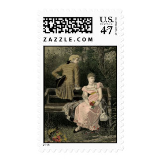 Vintage Victorian Couple Postage Stamps