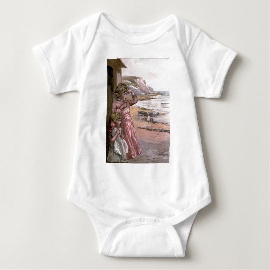 Vintage Victorian & Cute: Children at the Beach Baby Bodysuit