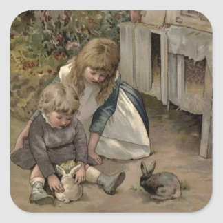 Vintage Victorian & Cute: Children & Bunny Rabbits Square Sticker