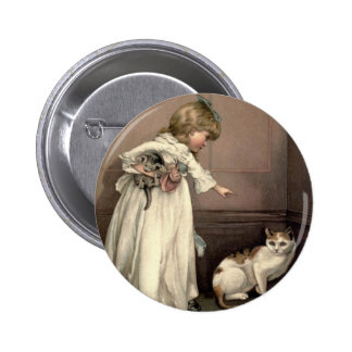 Vintage Victorian & Cute: Here Kitty, Kitty 2 Inch Round Button