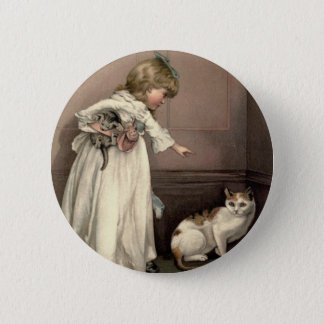 Vintage Victorian & Cute: Here Kitty, Kitty Pinback Button